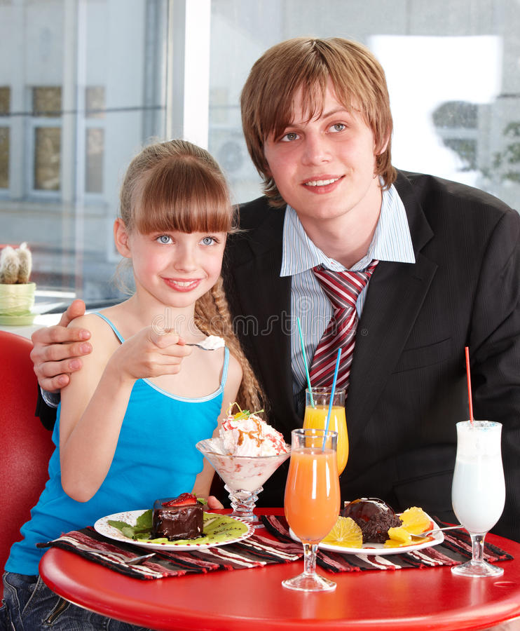 Happy Father And Daughter In Cafe. Stock Photos