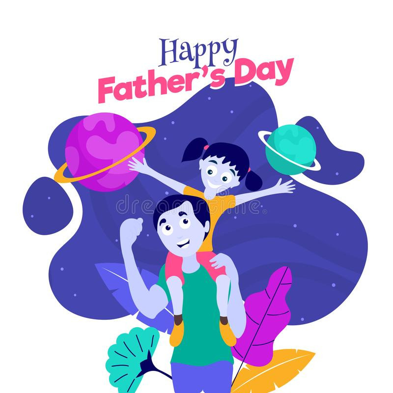Happy father and daughter duo. Happy father and daughter duo with planet on abstract background for Happy Father`s day celebration poster or template design vector illustration
