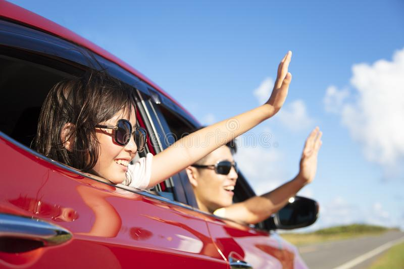 father and daughter enjoy road trip royalty free stock photography