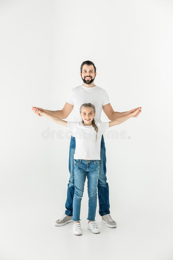Happy father and daughter stock photos