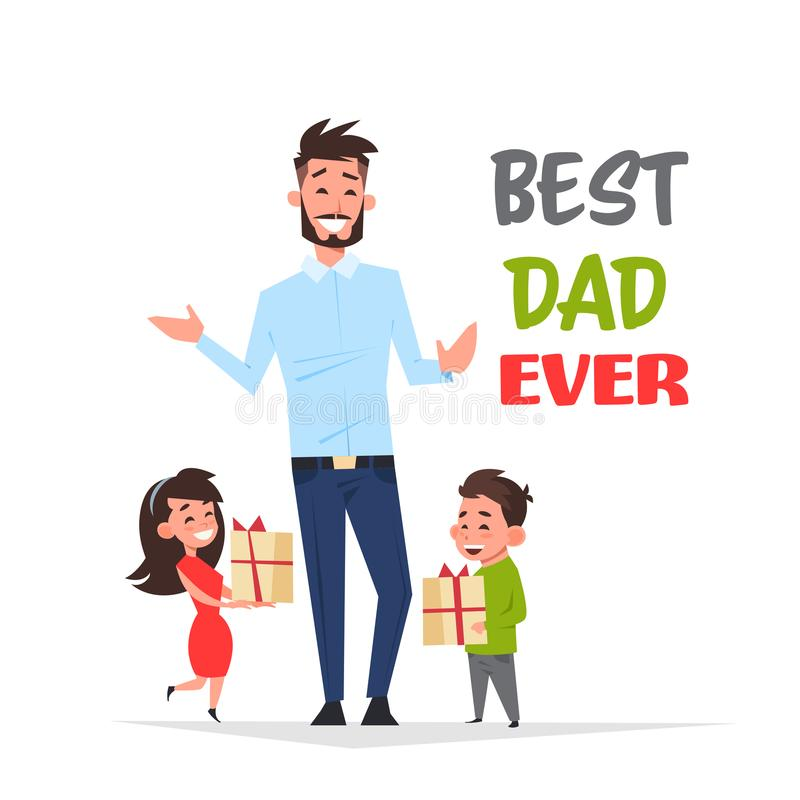 Happy father day family holiday african daughter and son present gifts for dad concept greeting card flat. Vector illustration stock illustration