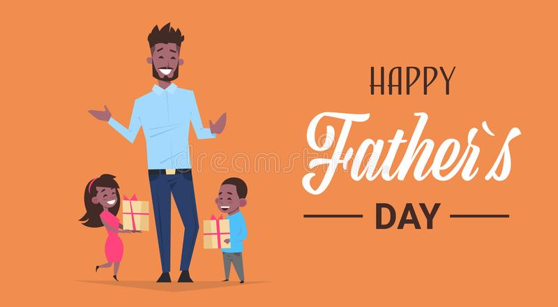 Happy father day family holiday african daughter and son present gifts for dad concept greeting card flat. Vector illustration royalty free illustration