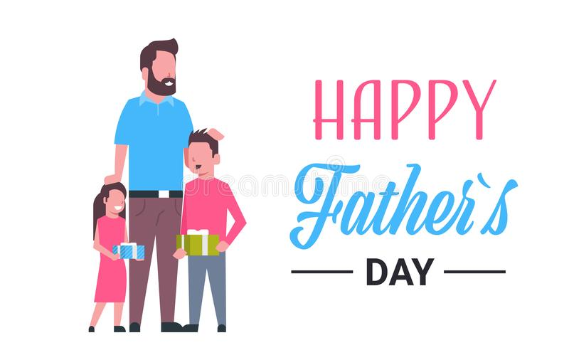 Happy father day family holiday daughter and son present gifts for dad concept greeting card flat. Vector illustration stock illustration