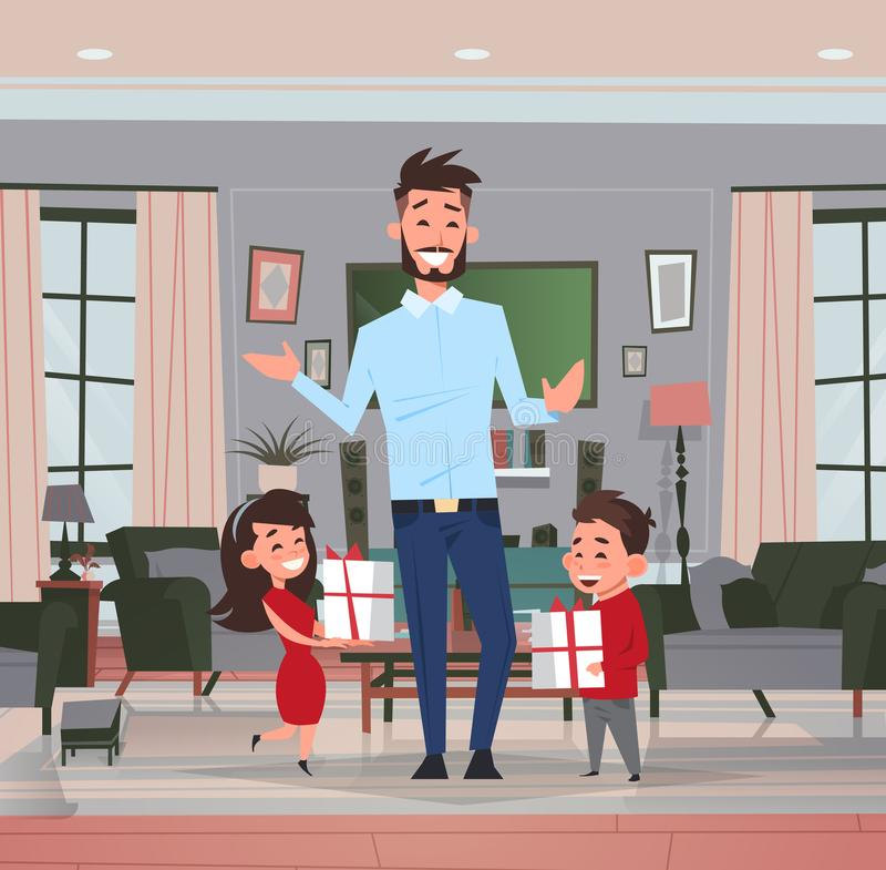 Happy father day family holiday daughter and son present gifts for dad in living room greeting card flat. Vector illustration royalty free illustration