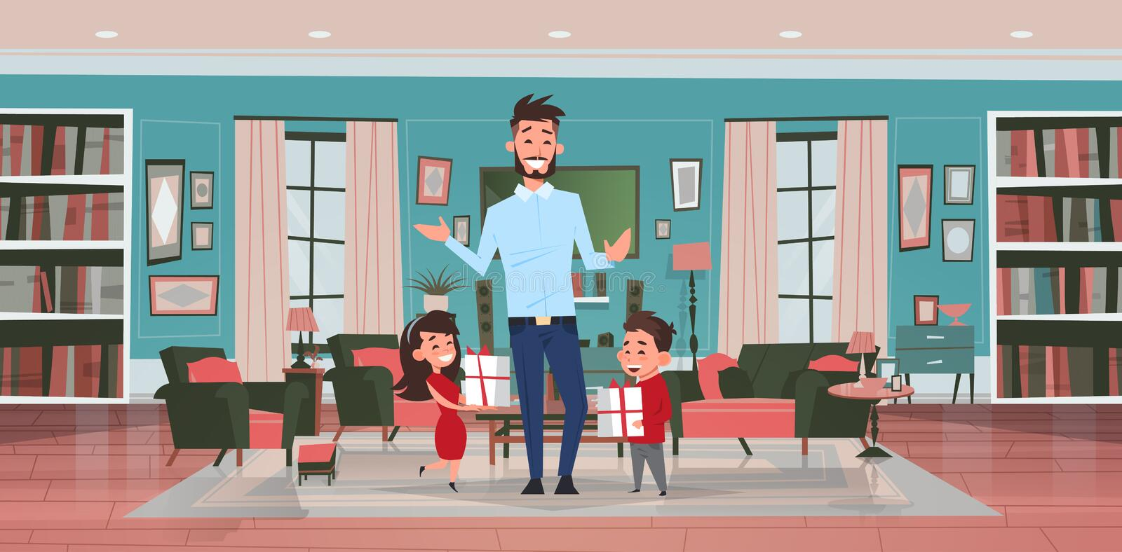 Happy father day family holiday daughter and son present gifts for dad in living room greeting card flat. Vector illustration stock illustration