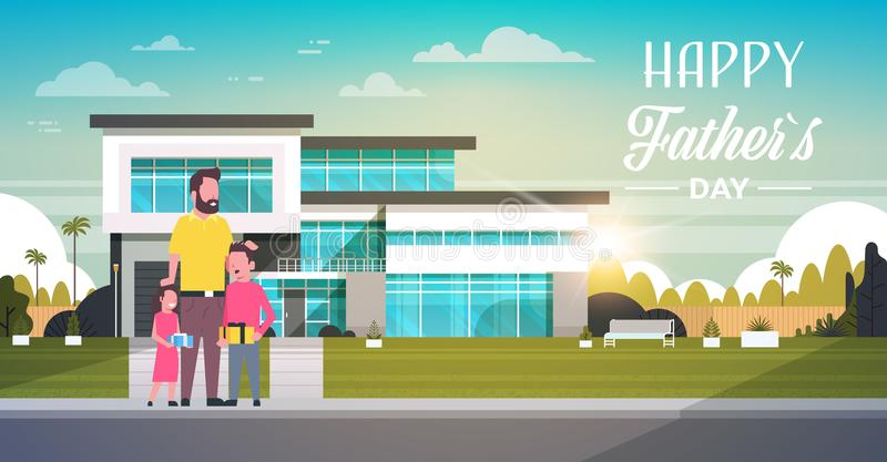 Happy father day family holiday daughter and son present gifts for dad near house yard concept greeting card flat. Vector illustration stock illustration