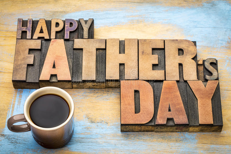 Happy father day greeing card in wood type royalty free stock photos