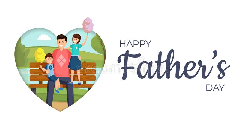 Happy father day vector banner template. Smiling son and daughter sitting on bench in park with daddy cartoon characters stock illustration