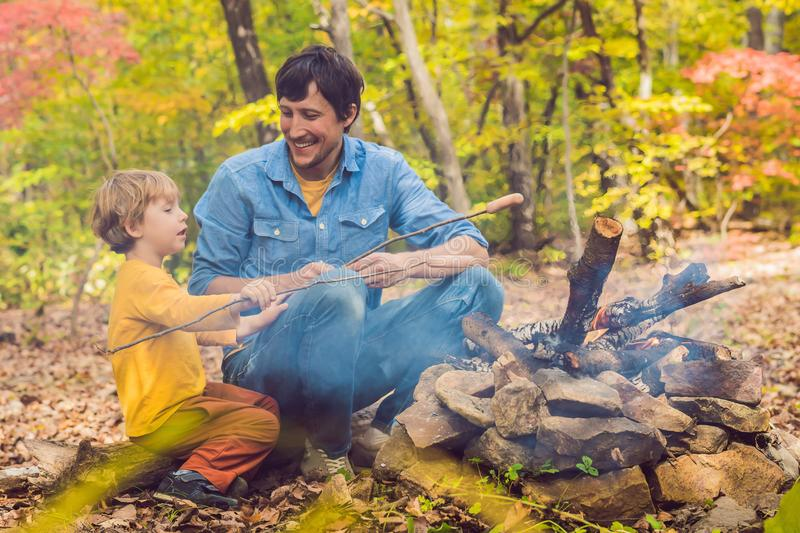 Download Happy Father Doing Barbecue With His Son On An Autumn Day Stock Image - Image of childhood, parent: 120075339