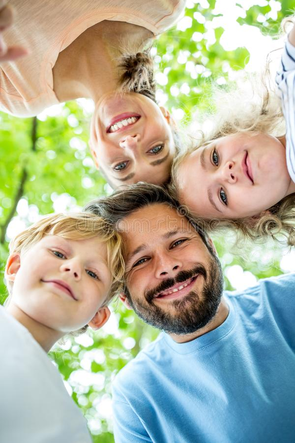 Happy father with family stock image