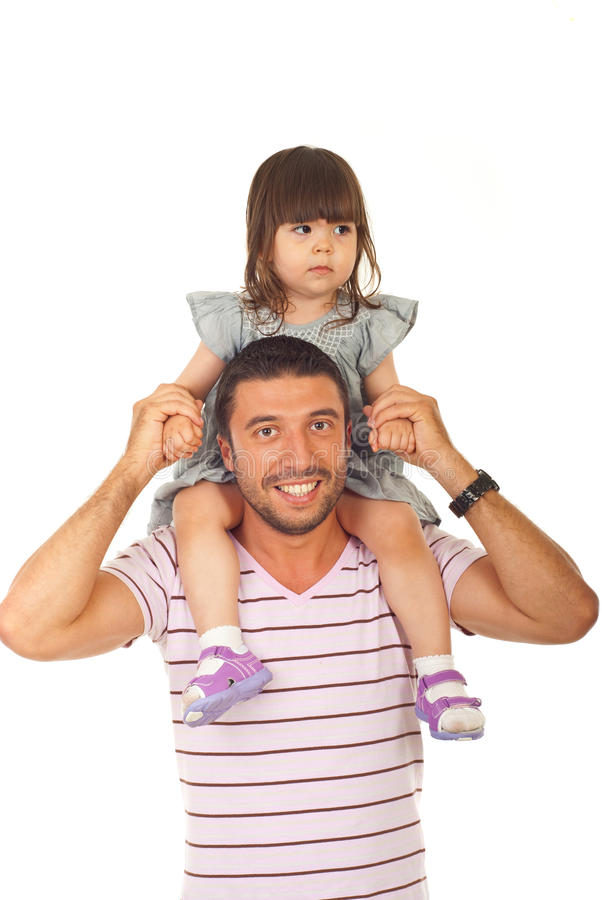 Happy father holding daughter royalty free stock image