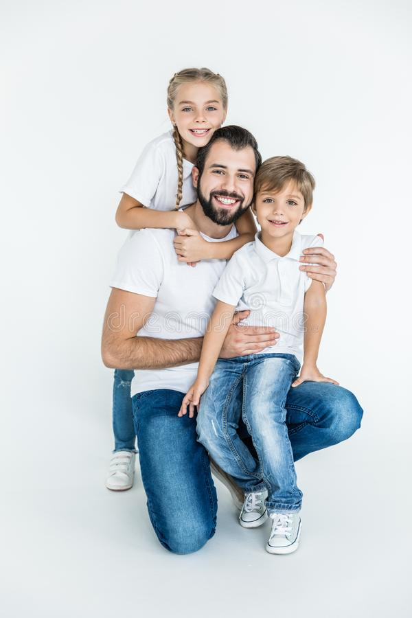 Happy father with kids stock photo