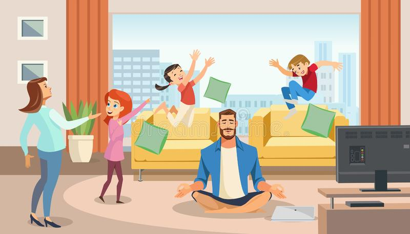 Happy father in lotus position surrounded family. Home relax concept with fun cartoon characters. Vector illuctration of parent and children at living room stock illustration