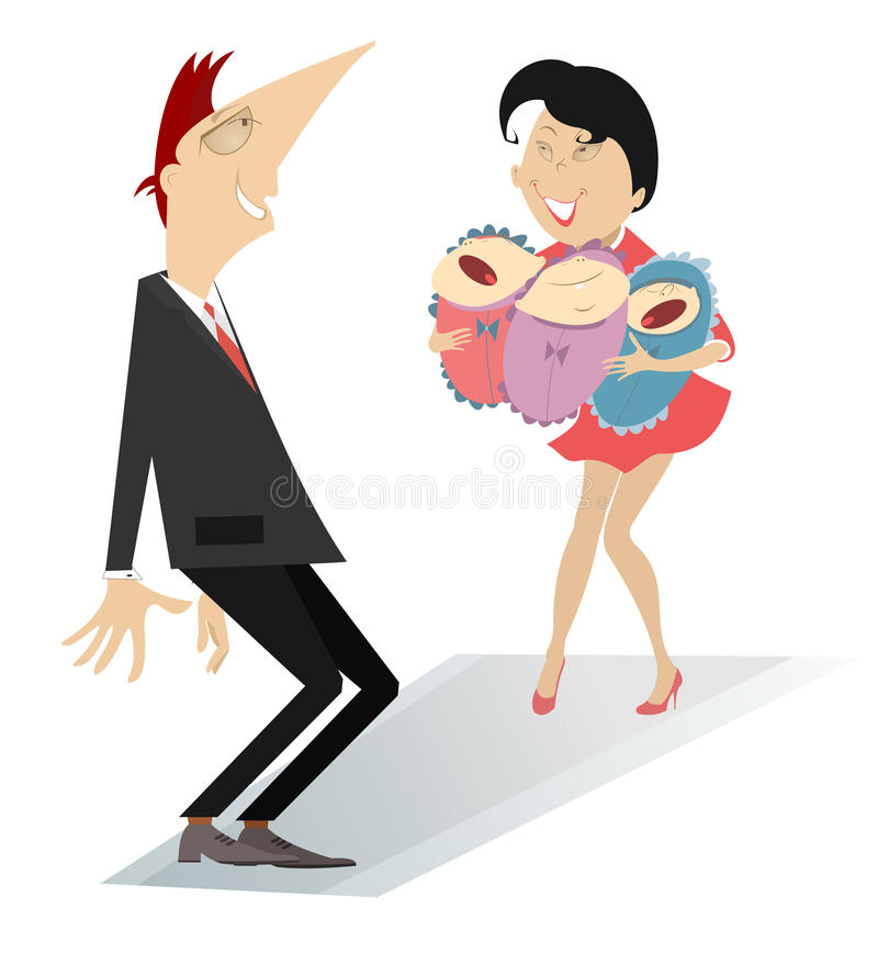 Happy father. Man surprised to become a father of three babies vector illustration