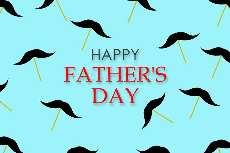 Happy father`s day background. A lot of whiskers on a stick on a blue background. Congratulatory background stock photos