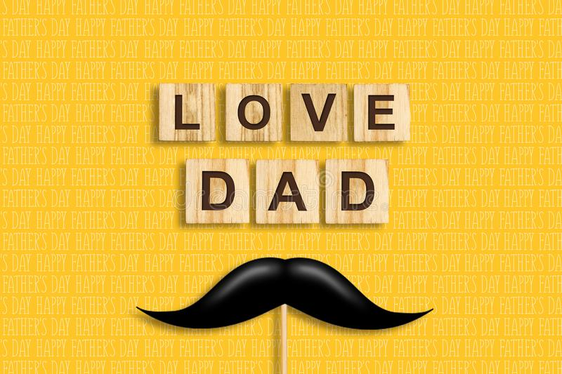 Happy father`s day background. Mustache on a stick. Love Dad, inscription on wooden blocks on a yellow background. Congratulatory vector illustration