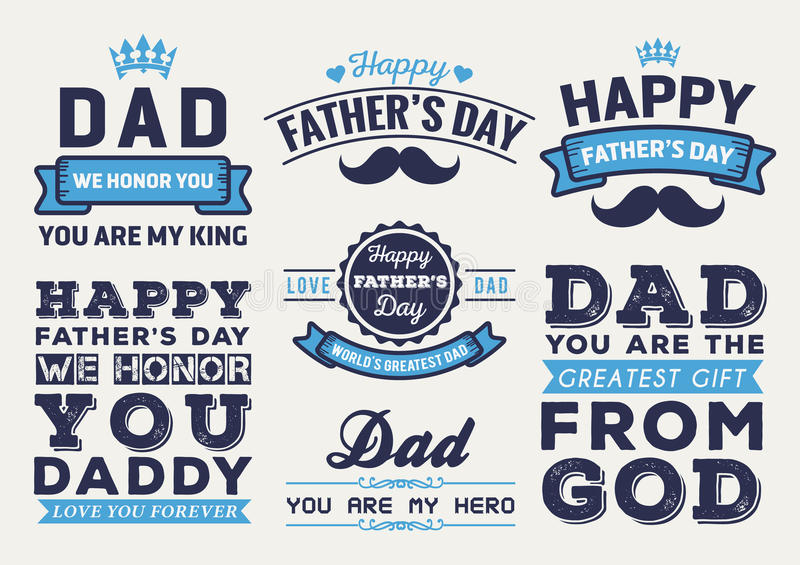 happy fathers day badge logo vector element set stock