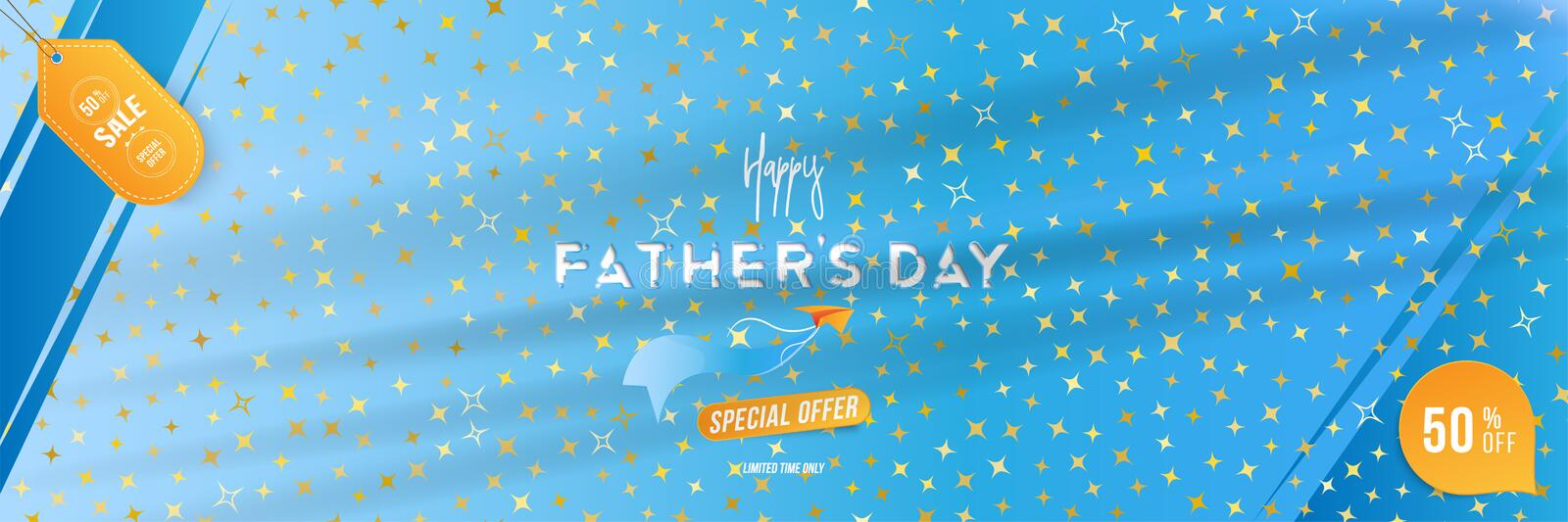 Happy Father`s Day. Banner with Mega Sale 50 with special offer and light effects on background original font and stars stock illustration