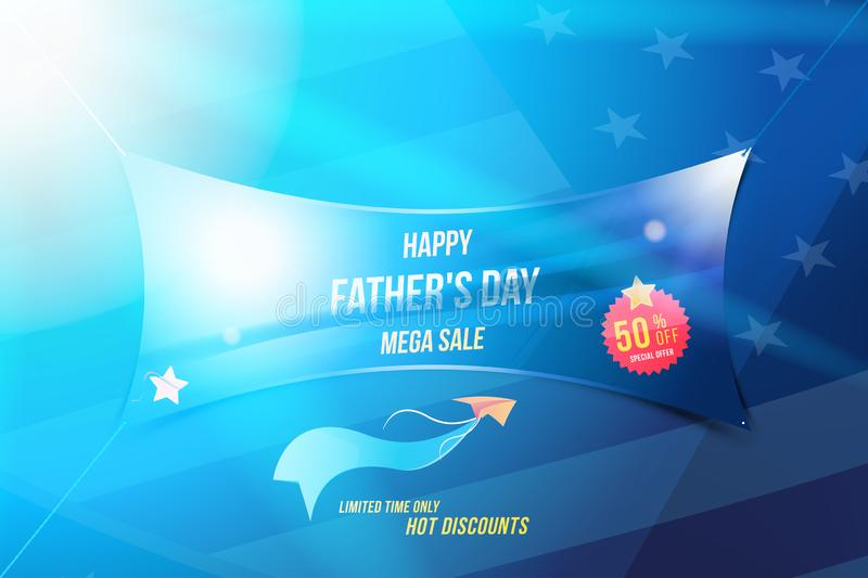 Happy Father`s Day. Banner with Mega Sale 50 with special offer and light effects on background USA flag . Flat vector stock illustration
