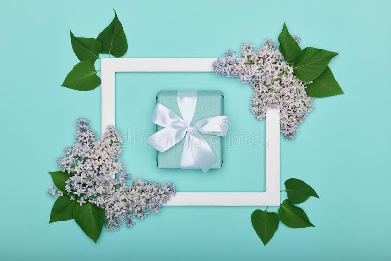 Happy Father`s day or Birthday Pastel Candy Blue Colour Background. Floral flat lay greeting card with picture frame mock up. Happy Father`s day or Birthday stock photography