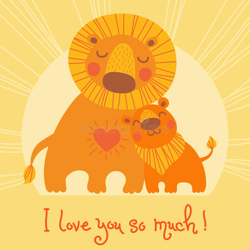 Happy Father's Day card. Cute lion and cub. stock illustration
