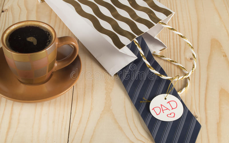 Happy father's day, coffee Cup, gift, tie, label dad royalty free stock photography