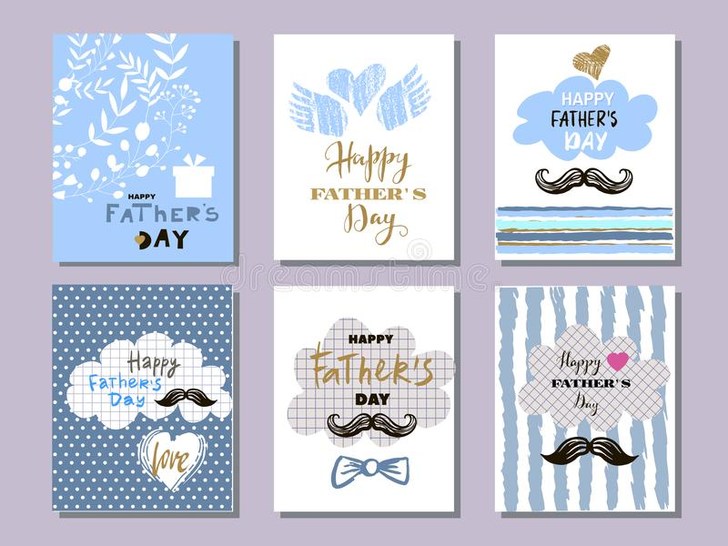 Father`s day collection cards8 vector illustration