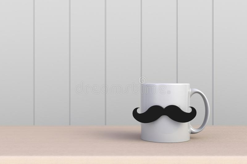 Happy Father's Day concept, Close up of coffee with mustache on white wood background, Copy space. 3d rendering royalty free illustration