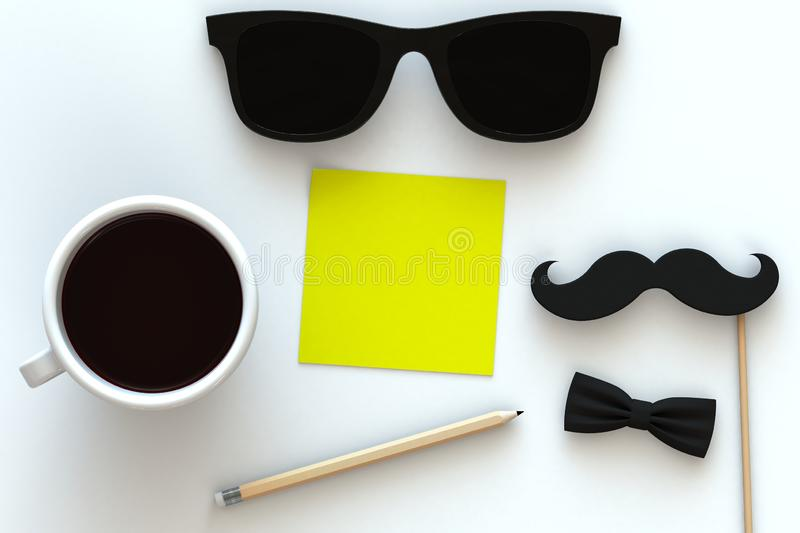 Happy Father's Day concept with coffee, mustache and glasses on white background, Top view with copy space. 3d rendering royalty free illustration