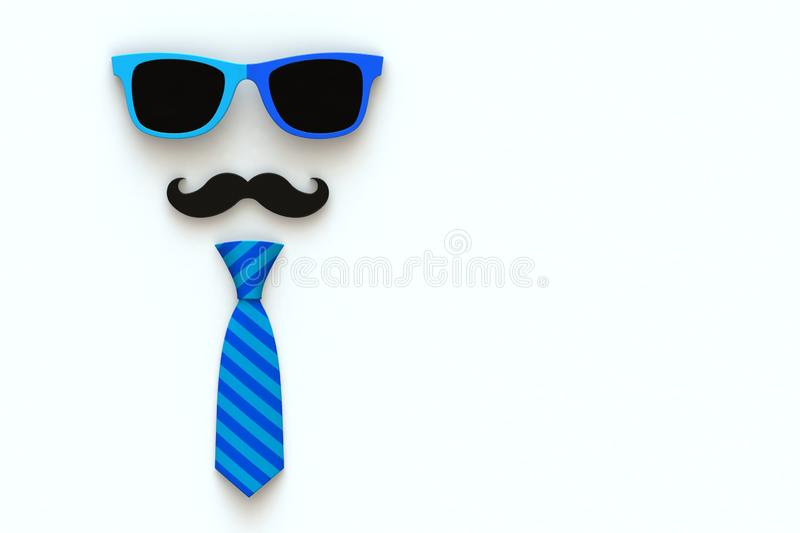 Happy Father's Day concept with neck tie, mustache and glasses on white background, Top view with copy space. 3d rendering vector illustration