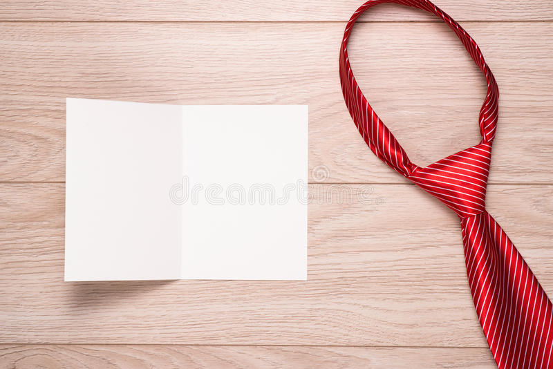Happy father s day dad. With blank card on wooden background stock photography