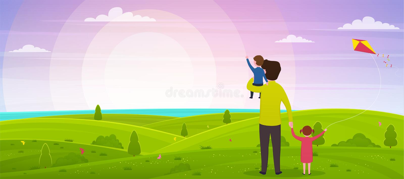 Happy father`s day. Dad with his son on his hands and his daughter are watching the sunset. vector illustration