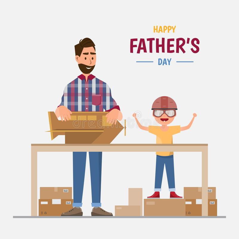 Happy father's day. Dad and his son making a plane from box vector illustration