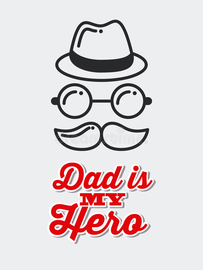 Happy father's day design. Happy father's day card with mustache, hat and glasses icon over white background. colorful design. illustration stock illustration