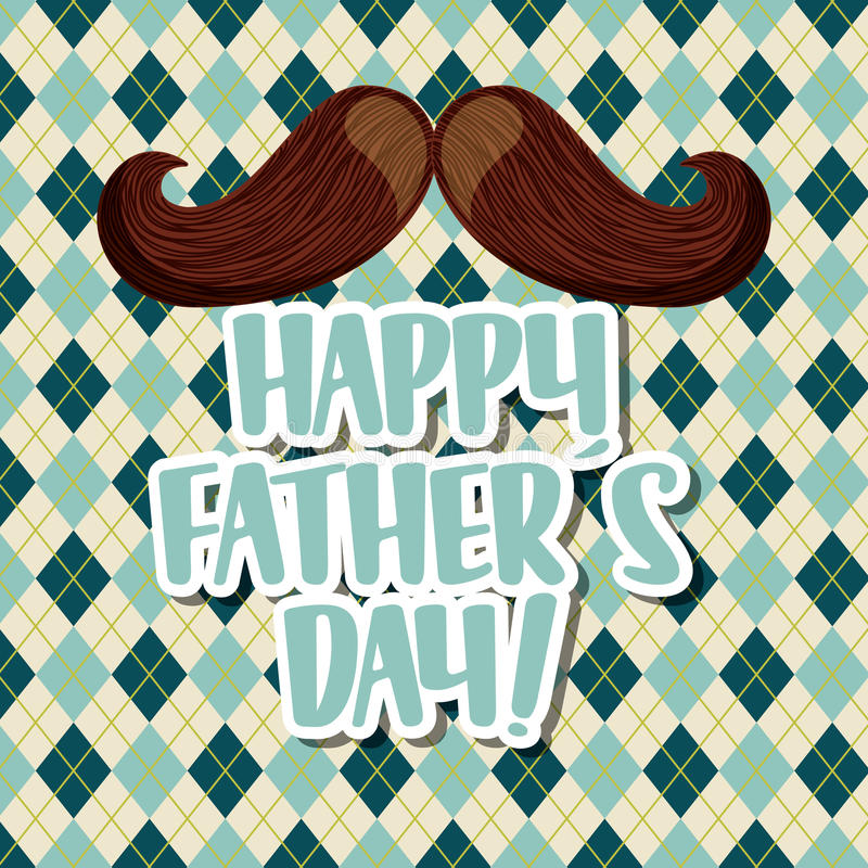 Happy father's day design. Happy father's day card with mustache icon. colorful design. illustration royalty free illustration