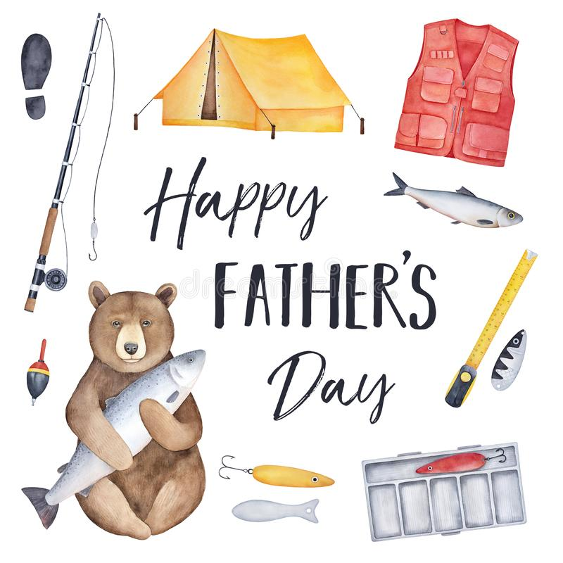 `Happy Father`s Day` greeting card with different fishing elements and equipment. royalty free illustration