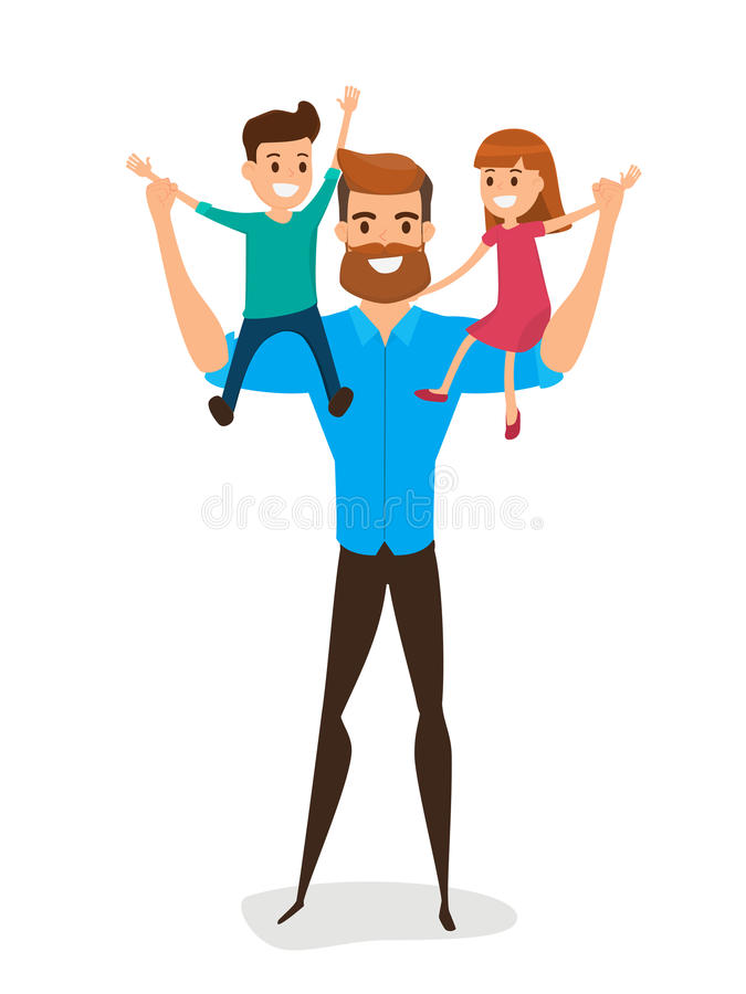Happy Father`s Day. Happy family concept. Dad carrying little so vector illustration