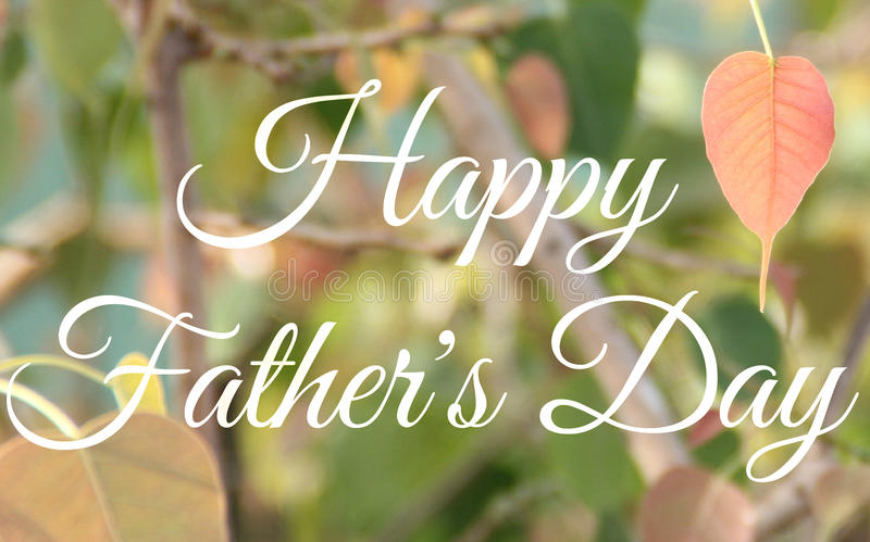 Happy Father's Day. Image on a green background with a leaf