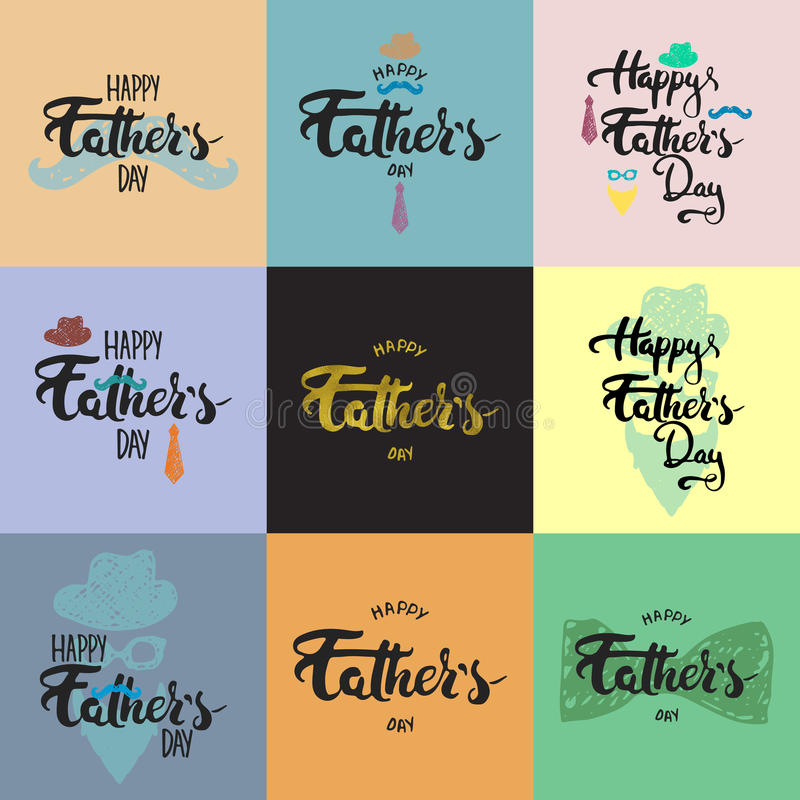 Happy fathers day lettering calligraphy greeting cards set with hat download happy fathers day lettering calligraphy greeting cards set with hat mustache bow tie m4hsunfo