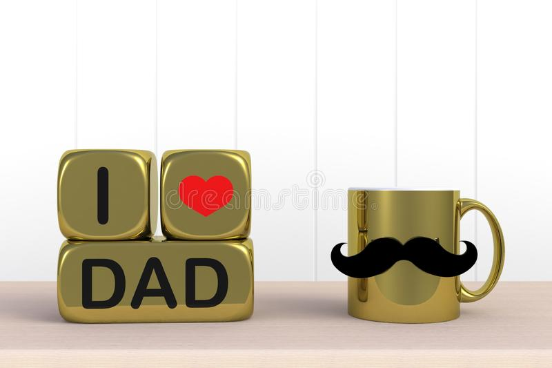 Happy Father's Day message, Close up of coffee with mustache and heart on white wood background, Copy space. 3d rendering vector illustration