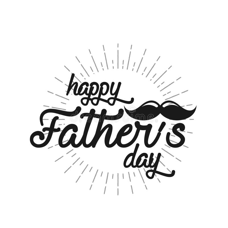 Happy Father`s Day Retro calligraphic design element. Happy Father`s Day Vintage Typographical Chalkboard Background. Happy Fathers Day retro chalk label with royalty free illustration