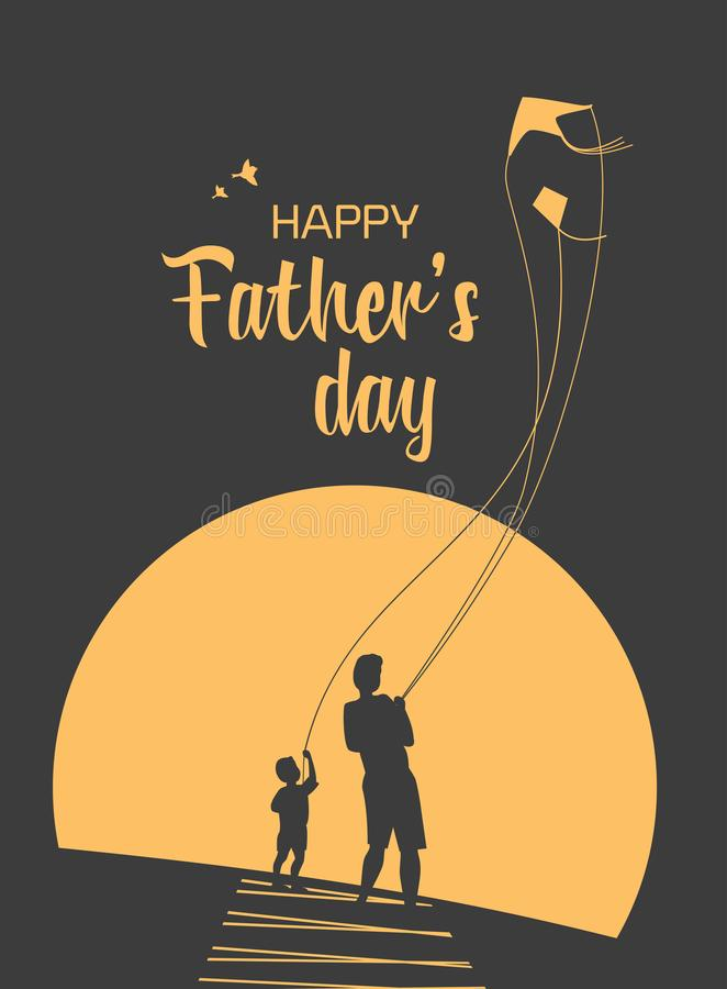 Happy Father`s Day. Happy father and son enjoy kiting. Father`s day poster. Flat minimal simple style. Family leisure fun activity on nature. Dad and kid boy vector illustration