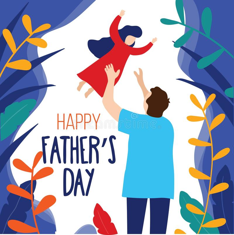 Happy Father`s day trendy card with father and daughter in modern flat style. Father`s day greeting card concept. Vector stock illustration