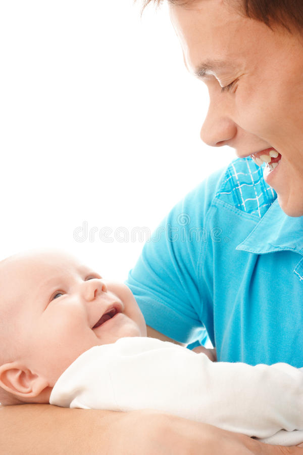 Happy father smile to his child stock images