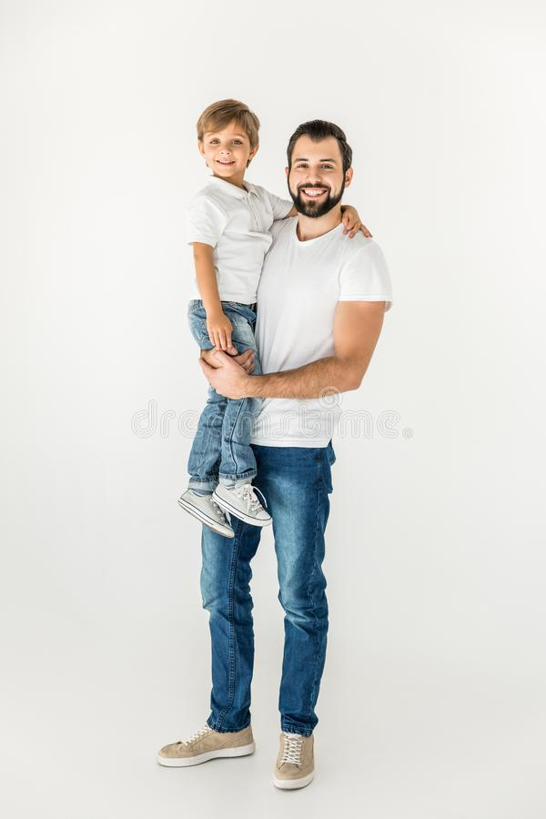 Happy father and son together royalty free stock photography