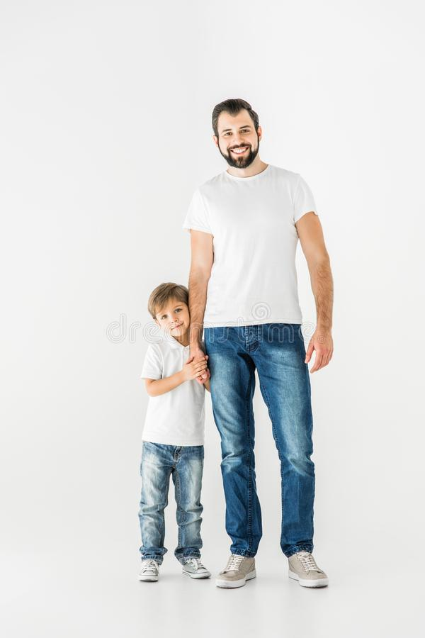 Happy father and son together royalty free stock photo