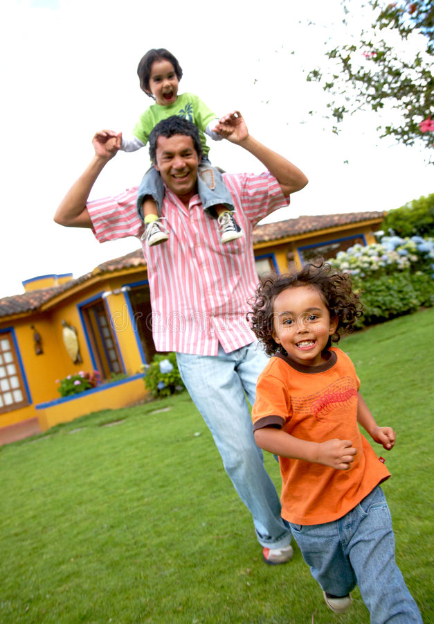 Download Happy father and sons stock photo. Image of grass, parenting - 5459296