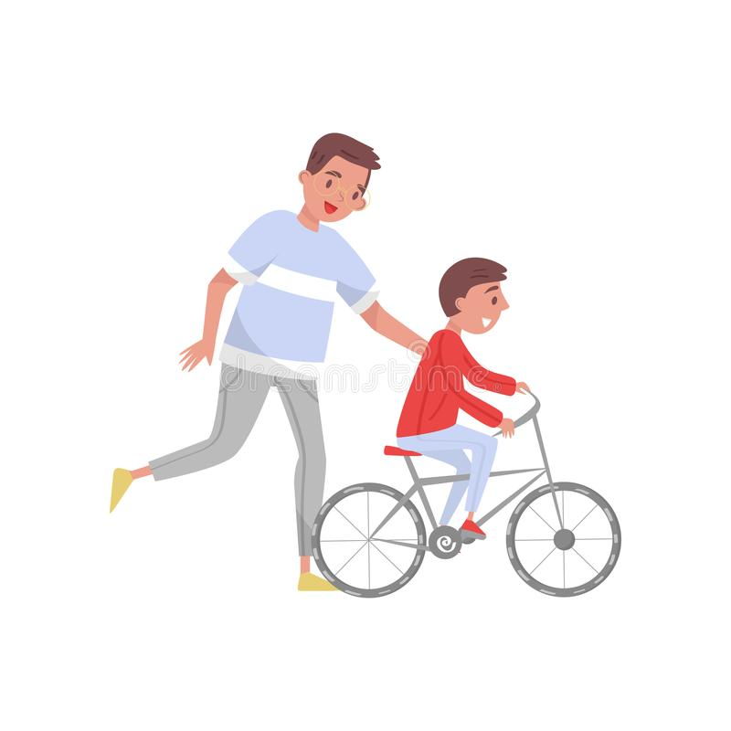 Happy father teaching his son riding bicycle. Outdoor activity. The first bike. Fatherhood theme. Flat vector design royalty free illustration