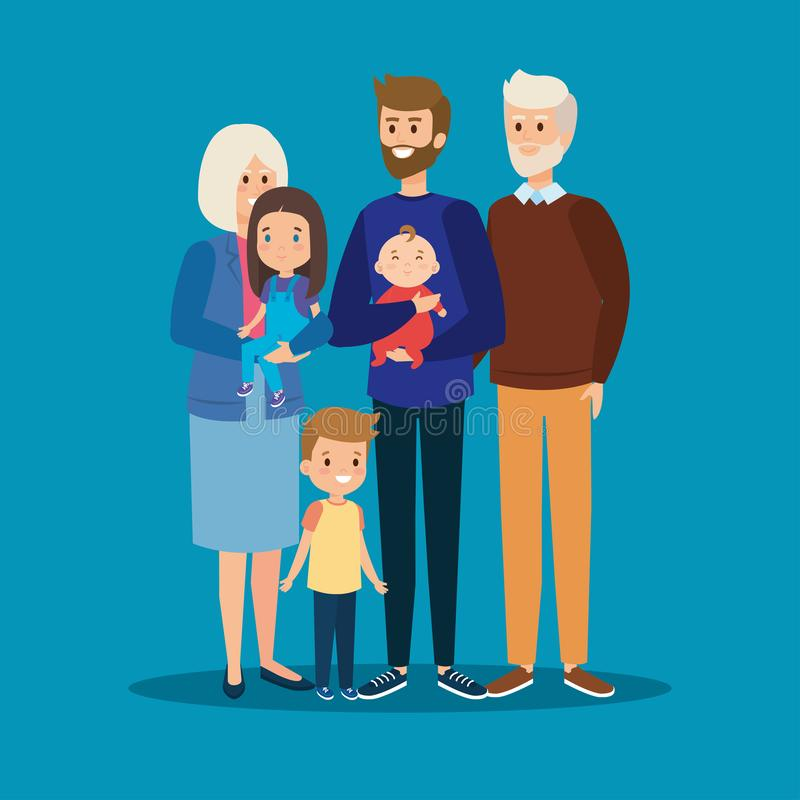 Happy father together with his kids and grandparents. Vector illustration stock illustration