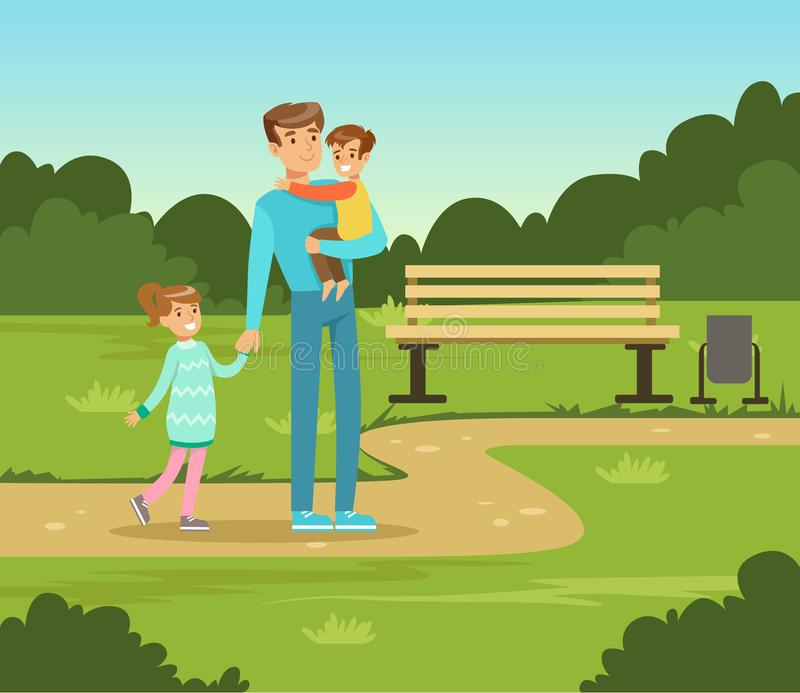 Happy father and two kids walking in summer park outside, family leisure vector illustration. Web banner vector illustration